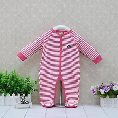 Girls Striped Rompers Newborn Baby Long Sleeve Clothes Covered Button One Piece