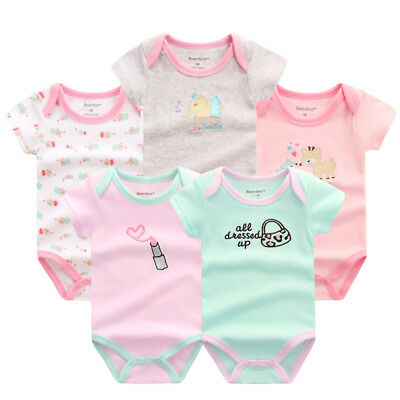 Newborn Summer Romper Baby Boy And Girl Overall Cute Jumpsuit Clothing Set 5 Pcs