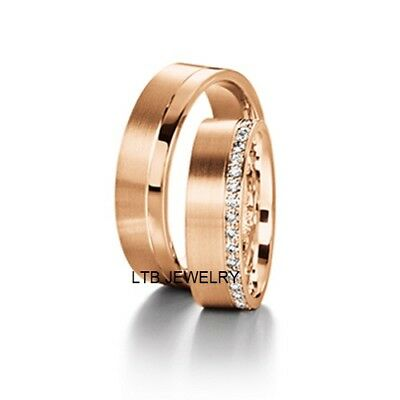 10K Rose Gold His & Hers Diamond Wedding Bands Rings Satin Finish