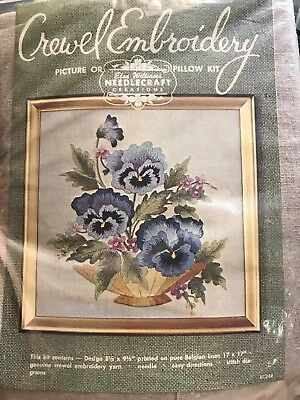 Elsa Williams CREWEL EMBROIDERY kit- Bowl Of Pansies - Pillow/picture 17x17 -NEW
