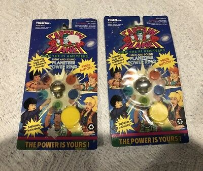 1994 vintage CAPTAIN PLANET Pair Of Power Ring gold & Silver Tiger Toys MOC