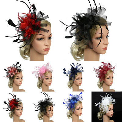 Vintage Feather Hat Cap Fascinator Hair Clip Costume Accessory Cocktail Party US