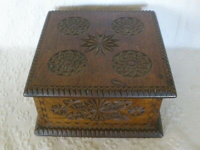 Vintage ANTIQUE CHIP CARVED WOODEN BOX Good Old Condition