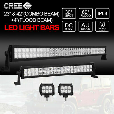 23inch+42inch CREE LED Light Bars Spot Flood Beam Offroad 4WD + 2x 4inch