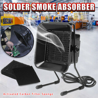 Solder Smoke Absorber Remover Fume Extractor Filter Smoke Fan + 3 Carbon Filter