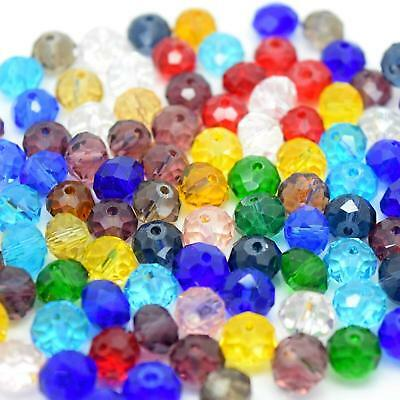 Mixed Glass Crystal Beads, Faceted, Abacus, Rondelle - 8 x 6mm