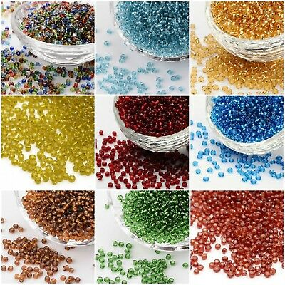 8/0 Glass Seed Beads, Silver Lined Round Hole, Round - 40g - approx 1,450 beads