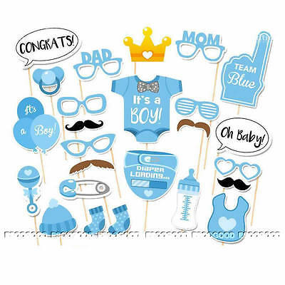 25pcs Blue Baby Boy Mini Mister Shower Photo Booth Props Birthday Party Decor