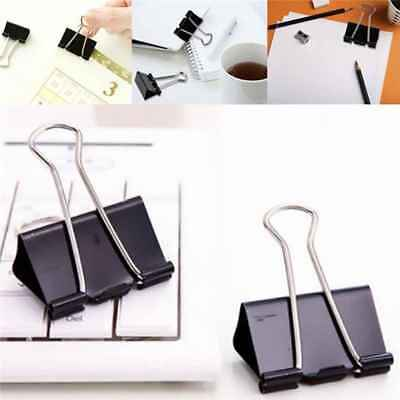12Pcs Black Metal Binder Clips File Paper Clip Photo Stationary Office SuppliesR