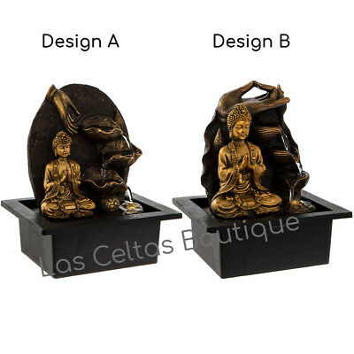 Thai Buddha Indoor Water Fountain Feature & LED Light Decorative Home Ornament