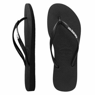 ed6fbca18510 Havaianas Brazil Women Flip Flops Logo Pop-Up Thongs Black White All Size