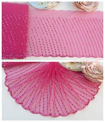 "7""*1Y Embroidered Tulle Lace Trim~Sequined~Azalea Pink~Shining Beauty~Gorgeous~"