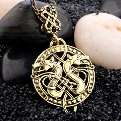 Talisman Amulet Men Viking Necklaces Gold Silver Plated Double Dragons Pendant