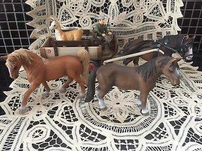Collectable Shleich horses, Cart, Driver And Lama As New Used As Display Only