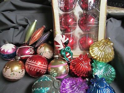 Vintage Christmas Ornaments Lot Of 21 Shiny Brite W. Germany Sea Shells Mica