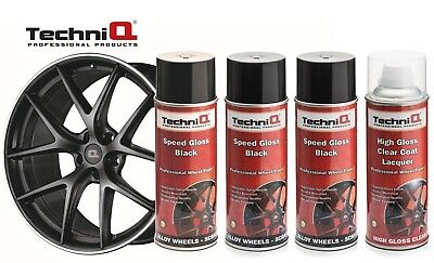 TechniQ Speed Gloss Black + Lacquer Car Alloy Wheel Spray Paint - 4 Cans QUALITY