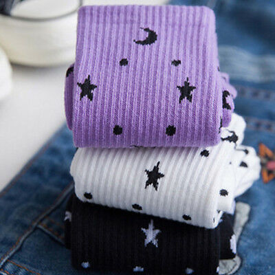 Breathable Women Moon Star Pattern Harajuku Cotton Sock Winter Autumn Warm Socks