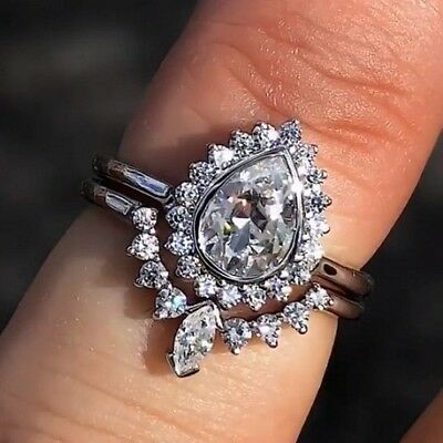 Near White Pear 1.67 Ct Moissanite 925 Sterling Silver Engagement Ring With Band