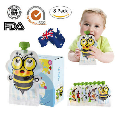 AU 8PC BPA-Free Reusable Resealable Squeeze Food Pouch Storage Bag DIY Baby Food