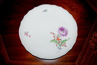 Magnificent Meissen Large H P Flowers Large Round Cabinet Serving Plate Or Tray