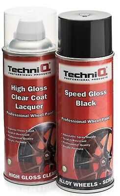 TechniQ Speed Gloss Black 400ml+ High Gloss Clear Lacquer Car Alloy Wheel Spray