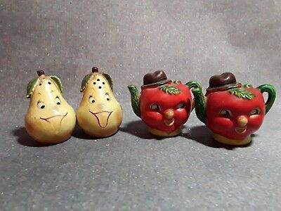 Vintage Salt and Pepper Shakers Tomoatoes & Pears Fruit Face Collectors lot