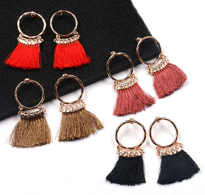Fashion Stud Women Long Tassel Fringe Boho  Dangle Earrings Jewelry