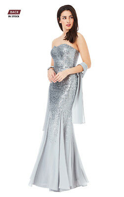 d18ff7343db Asos Bandeau Sequin And Chiffon Maxi Dress With Scarf Rrp £139.99