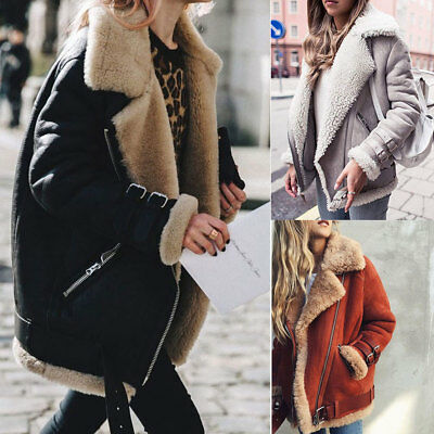 Hot Sale Womens Fleece Lined Biker Aviator Jacket Coat Winter Warm Lapel Outwear