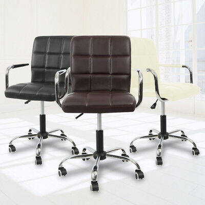 PU Leather High Back Office Chair Adjustable Swivel Computer Desk Armchair Wheel