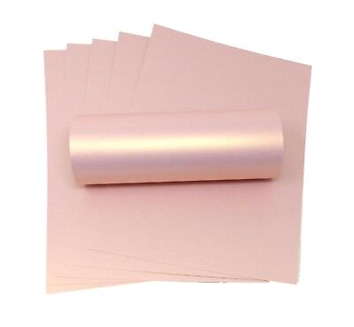10 A4 Card Rose Gold Pink With Gold Shimmer Pearlescent Card Double Sided 300Gsm