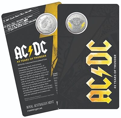 Australia 2018 50 Cents Ac/Dc - 45 Years Of Thunder Coloured Unc Coin - In Stock