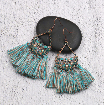 Women Fashion Bohemian Vintage Long Tassel Fringe Boho Dangle Earrings Jewelry