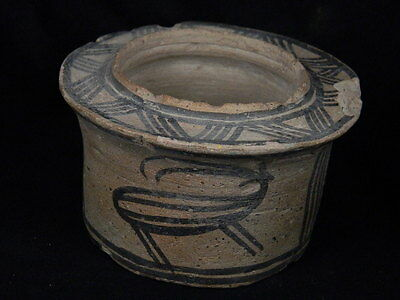 """ANCIENT INDUS VALLEY TERACOTTA PAINTED PYXIS WITH IBEX C.2500 BC No R """"""""T15520"""""""""""