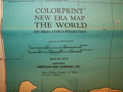 American Map Company Inc.1961 Colorprint New Era Map The World On Mercator S Projection