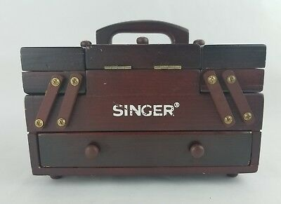 Singer Mini Wood Sewing Caddy Storage Box Folding Accordion Style Cherry