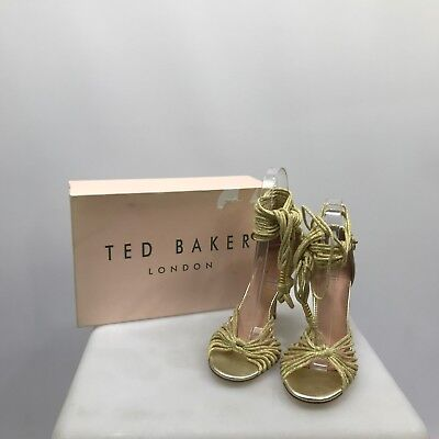 NEW TED BAKER Gold Heels Women's Funky Strappy Evening Party Leather UK 6 291271