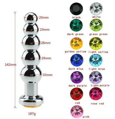 Silver Aluminium Plug Metal Anal butt Crystal Jewelry Stainless Steel Unisex toy