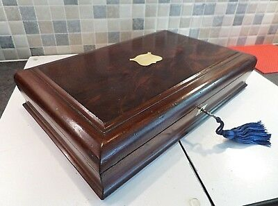 Victorian Flame Mahogany Document/ Collectors Box With Lift Out Tray- Lock & Key