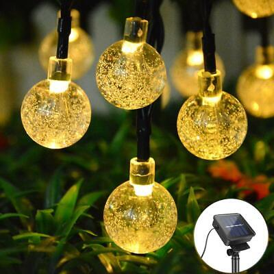 30 LED Solar String Lights Water Drop Christmas Outdoor Garden Party Fairy Lamp