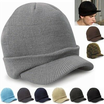 Men's Women Beanie Knit Ski Cap Visor Brim Peaked Beanie Winter Warm Hat Unisex