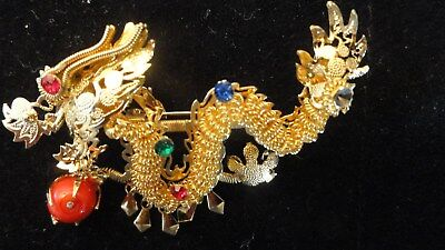 REDUCED! Vintage Chinese Asian Gold Toned Gilt Filigree Dragon Brooch or Pendant
