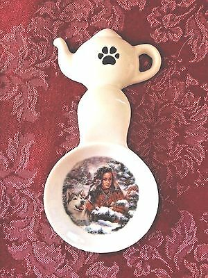 New Handmade Ceramic Porcelain Tea Bag Spoon Rest Woman and Wolf Fired Gift