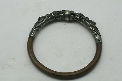 Antique  Sterling Silver Bamboo Wood Chinese Twin Dragon Bangle Bracelet