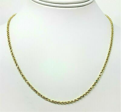 10K Solid Yellow Gold Rope Necklace Chain 2.00 mm 18'' Inch