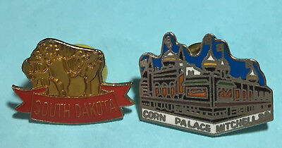 2 -Black Hills,South Dakota Pins - Corn Palace,Mitchell,SD & Buffalo