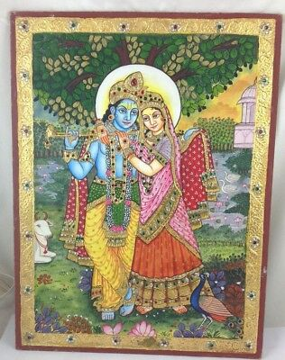 Tanjore Handmade Lord Radha Kishan Painting Wall Decor Art