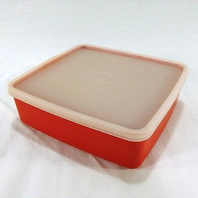 Tupperware Large Square Away Container 1458 Red Sandwich Lunch