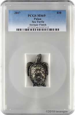 2017 $10 Palau Sea Turtle 45g .999 Silver Coin Antique Finish PCGS MS69