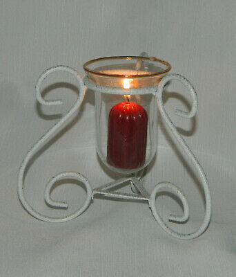 """Vintage Scroll Metal White Wrought Iron Candle Holder w/Clear Glass Insert 6"""" H"""